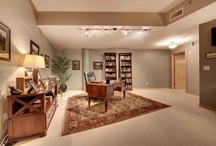 Traditional Home Office with flat door, Carpet, Standard height, flush light