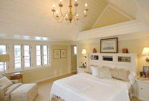 Master Bedroom with Chandelier, Paint 2, High ceiling, Wall sconce, Baldwin\Vintage Vogue Club Ottoman - Slipcover and Frame