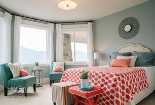 Contemporary Guest Bedroom with Carpet, Etsy red ikat dots home decor fabric, Burke solid nailbutton chair, flush light