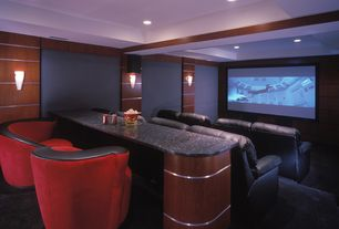 Art Deco Home Theater with Lane 175 Grand Slam Theater Seating, Wall sconce, Vladimir Kagan Nautilus Chair 9444, Exposed beam