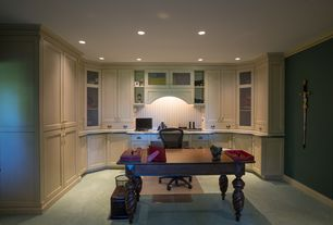 Country Home Office with Built-in bookshelf, Cotswold Writing Desk, Carpet, Ergo Value Mesh Medium Back Task Chair