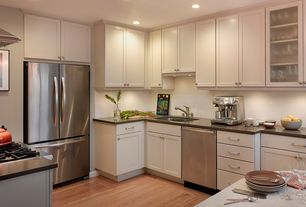Traditional Kitchen with Multiple Refrigerators, Daltile pearl white (2) qh63, Undermount sink, Simple granite counters