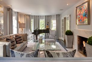 Modern Living Room with French doors, Shades of Light - Stepping Out Stork Lamp, Marble fireplace surround, Bay window