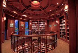 Traditional Library with Carpet, Basket deck railing, Built-in bookshelf, flush light, Crown molding, Wall sconce