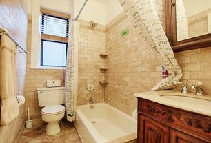 Traditional Full Bathroom with Limestone counters, tiled wall showerbath, Flat panel cabinets, Freestanding, Undermount sink