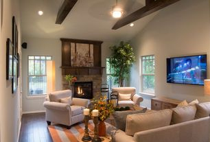 Traditional Living Room with Fireplace, double-hung window, can lights, Pottery barn - manhattan upholstered recliner, Paint