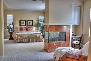 Traditional Master Bedroom with Carpet, Built-in bookshelf
