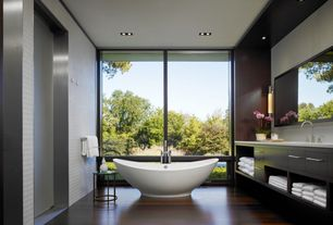 "Contemporary Master Bathroom with Master bathroom, Wall sconce, Emy 64"" soaking bathtub, Sauder Soft Modern End Table, Flush"