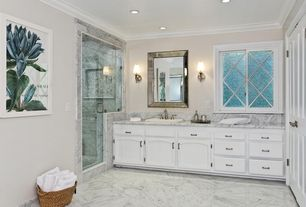 Traditional 3/4 Bathroom with Inset cabinets, specialty door, can lights, Paint 1, Drop-in sink, full backsplash, Shower