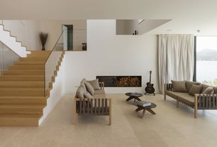 Contemporary Living Room with Pendant light, simple marble tile floors