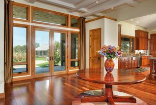 Contemporary Entryway with Hardwood floors, Transom window, French doors, Box ceiling, Exposed beam, High ceiling