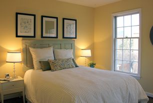 Traditional Guest Bedroom with Rustic headboard, Paint, double-hung window, Standard height, Hardwood floors
