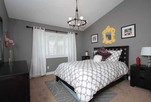 Contemporary Guest Bedroom with Chandelier, Carpet
