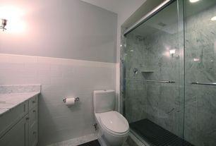 Modern 3/4 Bathroom with stone tile floors, three quarter bath, Standard height, frameless showerdoor, Paint 1, can lights