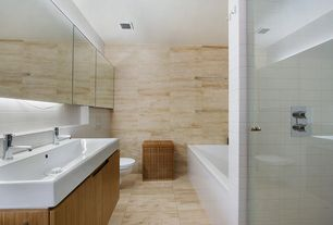 Contemporary Master Bathroom with Standard height, Bathtub, Console sink, stone tile floors, Large Ceramic Tile, Wall Tiles