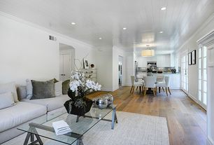 Contemporary Great Room with French doors, Paint, Drum shade semi-flush mount ceiling light, Crown molding, Wide plank floors
