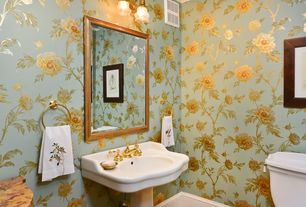 Traditional Powder Room with Karla Pruitt Garden Wallpaper, Pedestal sink, Crown molding, interior wallpaper, Pendant light