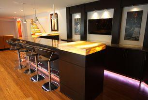 Contemporary Bar with Built-in bookshelf, Pendant light, Hardwood floors
