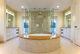 Modern Master Bathroom with Rain shower, Flush, Master bathroom, Durasupreme Cabinets - Arcadia Classic Style Panel in White