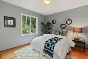 Eclectic Guest Bedroom with Standard height, Paint 1, flush light, Delray Plants White Bird of Paradise in Pot, Casement