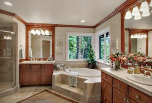 Traditional Master Bathroom with Raised panel, Inset cabinets, Master bathroom, Onyx counters, Crown molding
