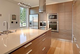 Contemporary Kitchen with Pendant light, European Cabinets, Flush, Kitchen island, Simple granite counters, L-shaped
