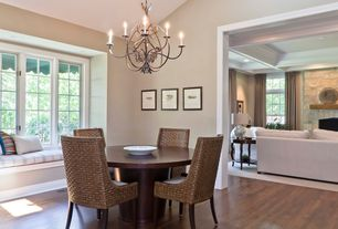 Traditional Dining Room with Window seat, Chandelier, High ceiling, Hardwood floors, can lights, Casement