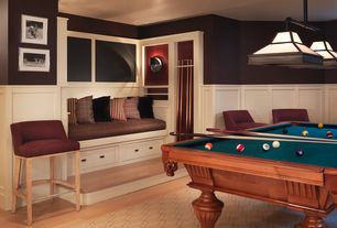 Traditional Game Room with Billiard table, Pendant light, Laminate floors, Wall sconce, Window seat, Wainscotting