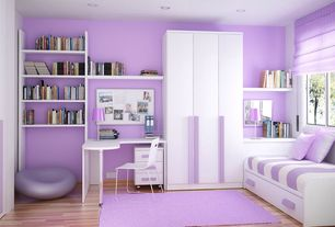 Contemporary Kids Bedroom with Casement, Overlea plastic dining chair, Paint, Laminate floors, can lights, Paint 2