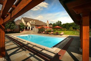 Traditional Swimming Pool with Pathway, Lap pool, exterior stone floors, Trellis