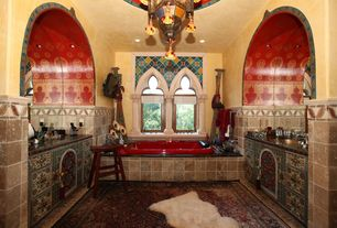 Eclectic Master Bathroom with Chandelier, Simple marble counters, Master bathroom, 10' 1 x 13' Tabriz Persian Rug, Mural