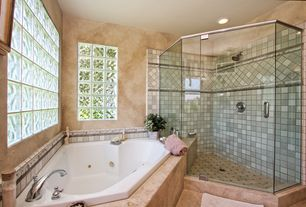 Traditional Master Bathroom with Master bathroom, Stained glass window, Rain shower, frameless showerdoor