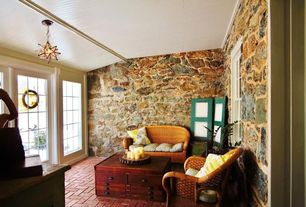 Cottage Porch with exterior brick floors, French doors, Screened porch