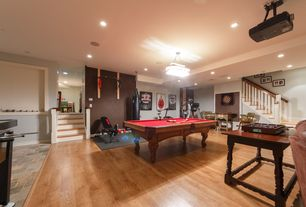Traditional Game Room with Chandelier, Hardwood floors
