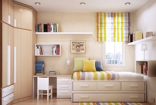 Contemporary Kids Bedroom with Ikea sundvik children's chair white, Laminate floors, Built-in bookshelf