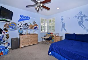 Contemporary Kids Bedroom with Ceiling fan, Mural, Carpet