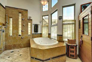 Traditional Master Bathroom with Jetted showerhead, Sauna, Handheld showerhead, Pendant light, Concrete tile , Bathtub