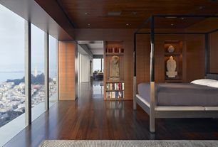 Contemporary Master Bedroom with Built-in bookshelf, High ceiling, Hillsdale chatham canopy bed, Hardwood floors