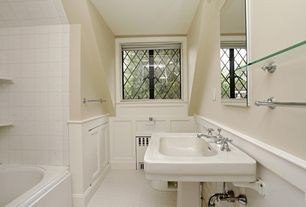 Traditional Full Bathroom with penny tile floors, Pedestal sink, Master bathroom, Wainscotting