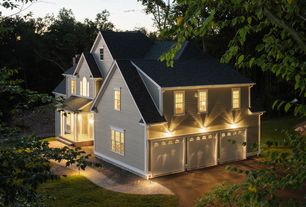 Traditional Garage with Concrete floors, double-hung window, Barn door, Wall sconce, Standard height