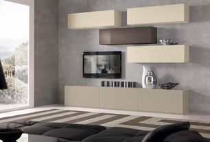 Modern Living Room with Built-in bookshelf, interior wallpaper, sandstone floors, High ceiling, picture window, Paint