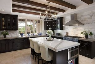 Eclectic Kitchen with Carrara (carrera) venato marble honed 12x24 floor and wall tile, Complex Marble Tile, Exposed beam