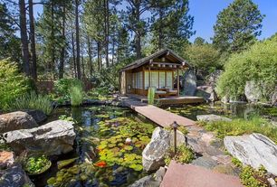 Asian Landscape/Yard with White River Basalt Boulders, Water Lily - Walter Pagels, Pond, Pathway, Fence