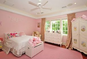 Traditional Kids Bedroom with Ceiling fan, Crown molding, Hardwood floors, Standard height, can lights, no bedroom feature