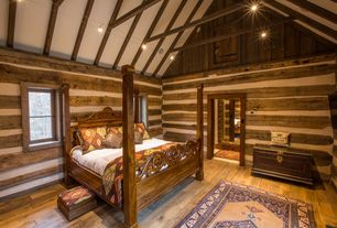 Rustic Guest Bedroom with Hardwood floors, High ceiling, flush light, Exposed beam