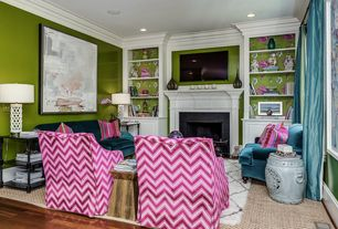 Eclectic Living Room with Built-in bookshelf, Area rug, Paint, Handmade 20-inch Oak Oil X-shaped Rest Stool, Crown molding