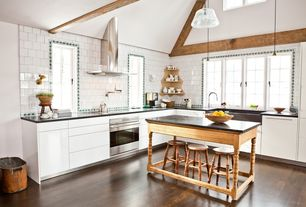 Contemporary Kitchen with Paint 1, Galvanized Steel Oval Firewood Tubs, Vesper Glass and Chrome Mini Pendant Light