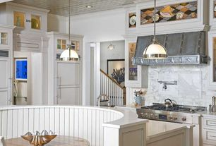 Contemporary Kitchen with Pendant light, Flat panel cabinets, Flush, L-shaped, Corian counters, Complex Marble, Crown molding