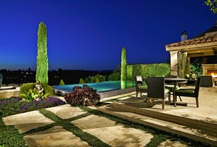 Mediterranean Patio with exterior stone floors, Fence, Pathway, Infinity pool