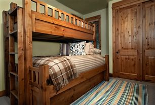 Craftsman Kids Bedroom with Carpet, Paint 1, Standard height, Bunk beds, Kendall twin-over-full bunk bed, six panel door